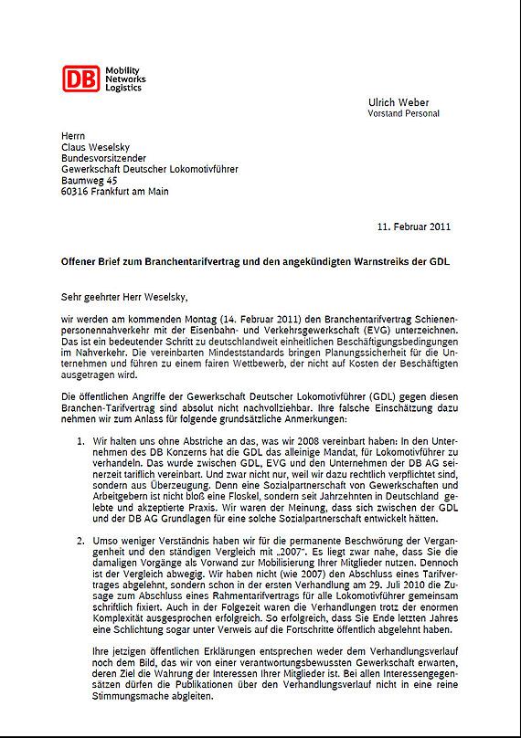 Brief Von Db Personalvorstand Ulrich Weber An Den Gdl Bundesvorsitzenden